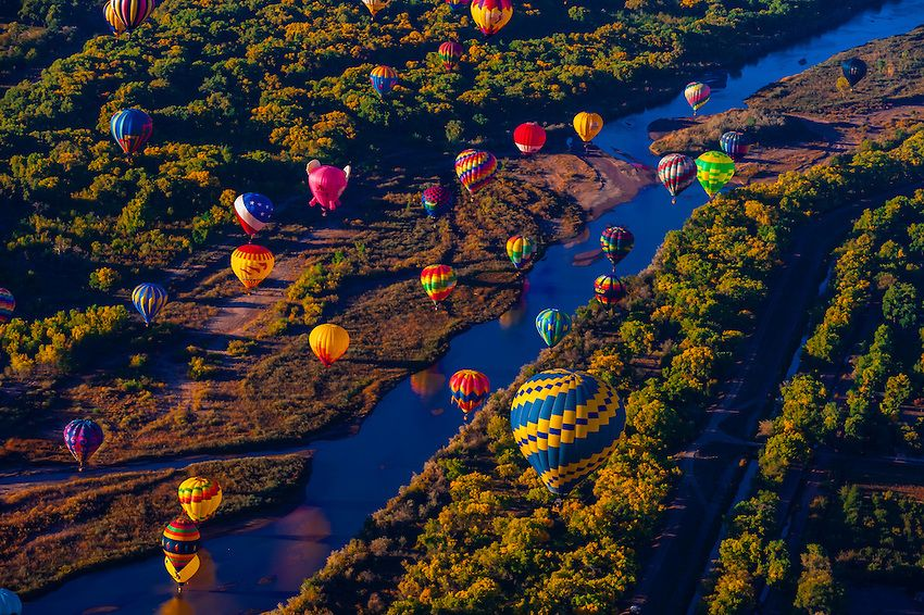Albuquerque Hot Air Balloon Hot air balloons flying low