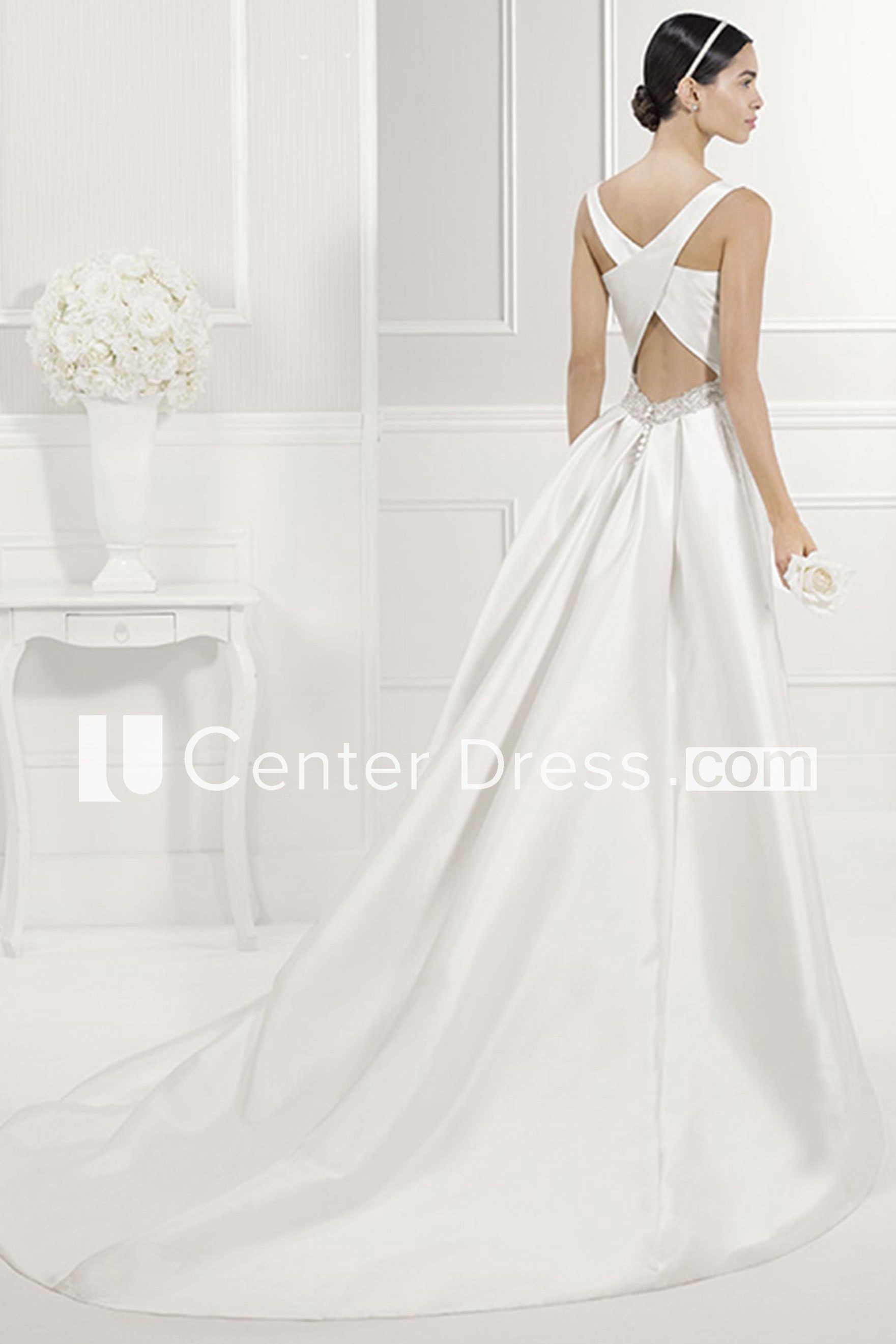 Bateau Neck Sheath Taffeta Bridal Gown With Criss Cross Back Straps Wedding Dresses With Straps Bridal Gowns Gowns