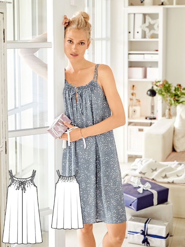 57fc39cc7b The double straps both gather the top of the nightie and also hold the  front neckline slit together.  burdastyle  sewing  pattern  nightgown  diy