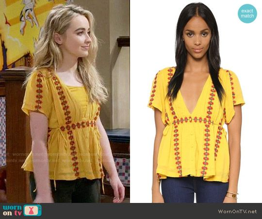 Maya's yellow top with red embroidery on Girl Meets World. Outfit Details: https://wornontv.net/58420/ #GirlMeetsWorld Buy it here: http://wornon.tv/36762