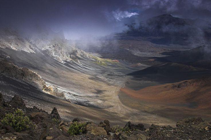 Haleakala Crater, Hawaii  Haleakala is the dormant volcano on the east side of Maui.