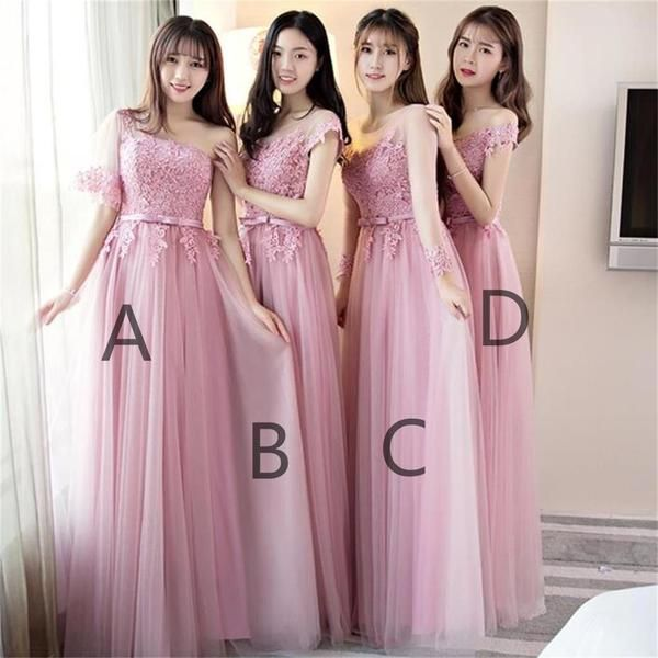 Pink Lace Tulle Long Bridesmaid Dresses 2004ca2c0e9a