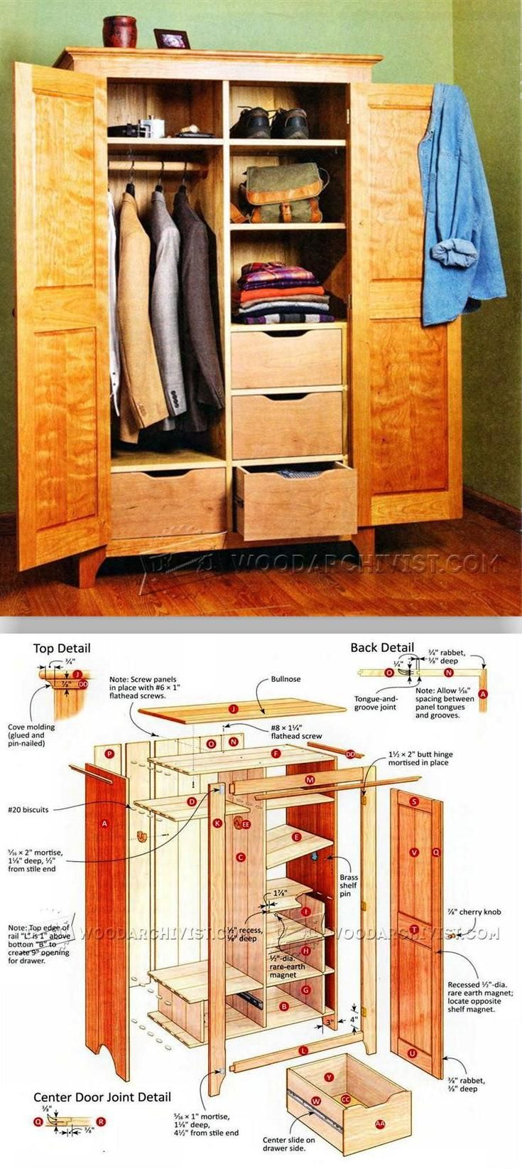 Bedroom wardrobe plans furniture plans and projects