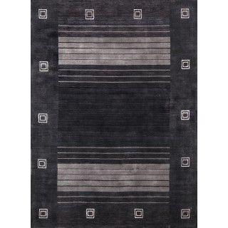 Rugsville Gabbeh Handloom Black New Zealand Wool 11258 Rug