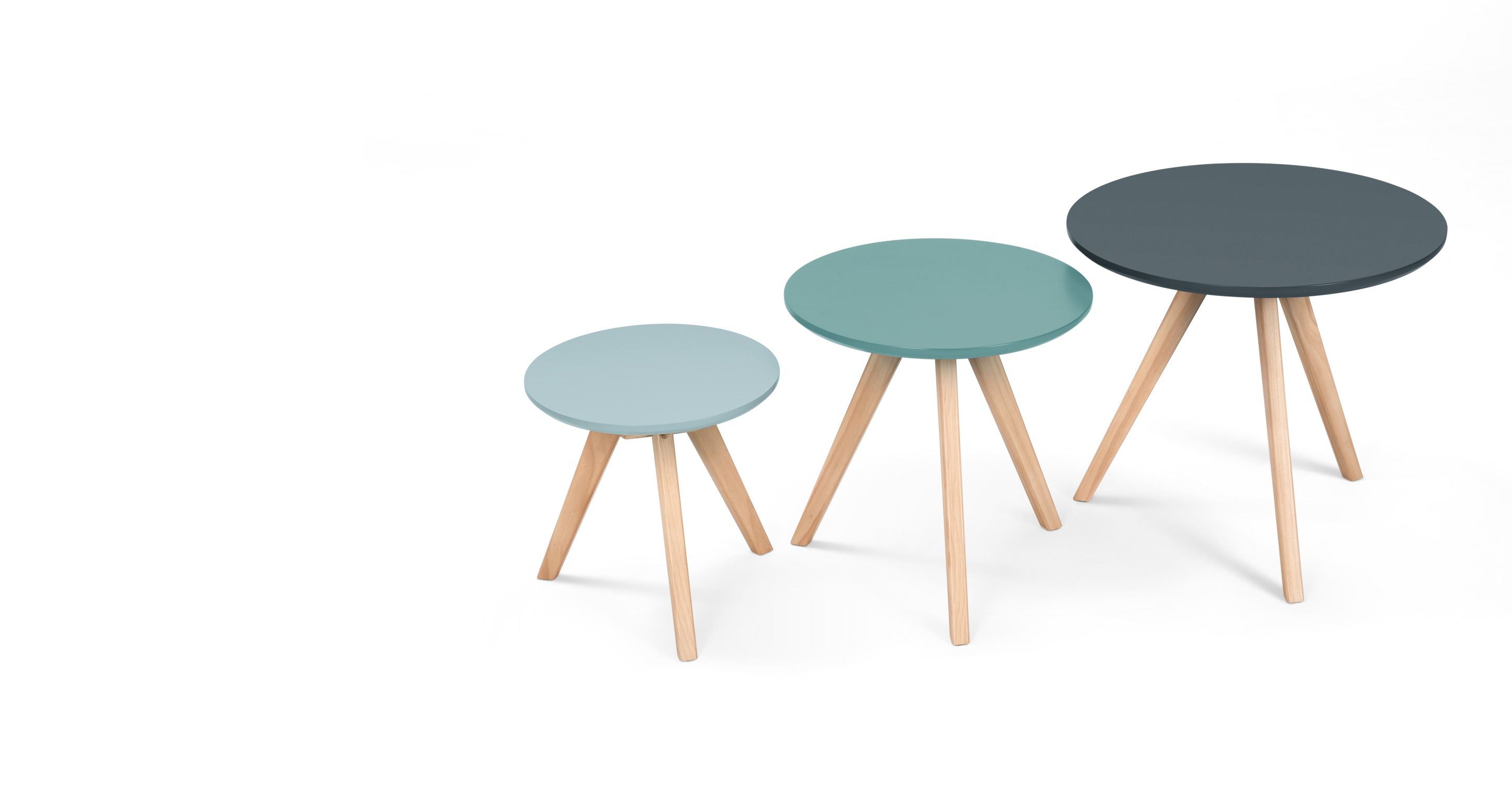 Set Of 3 Orion Side Tables Blue Made Com Table Side Table Design