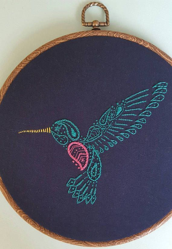 Paisley Hummingbird Embroidery Pattern - PDF - Hand Embroidery - Contemporary Embroidery - Hoop Art #embroiderypatternsbeginner