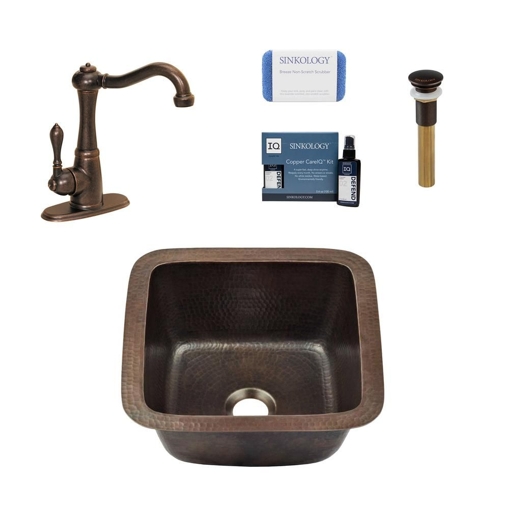 Sinkology Pollock All In One Drop In Or Undermount Copper 12 In Single Bowl Bar Prep Kitchen Sink With Pfister Faucet And Drain Aged Copper Sink Prep Kitchen Kitchen Sink Design