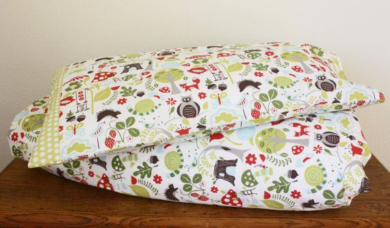 Woodland duvet cover and pillowcase, toddler bedding, nursery bedding, woodland bedding, woodland nursery, Fox Hollow, 100% cotton