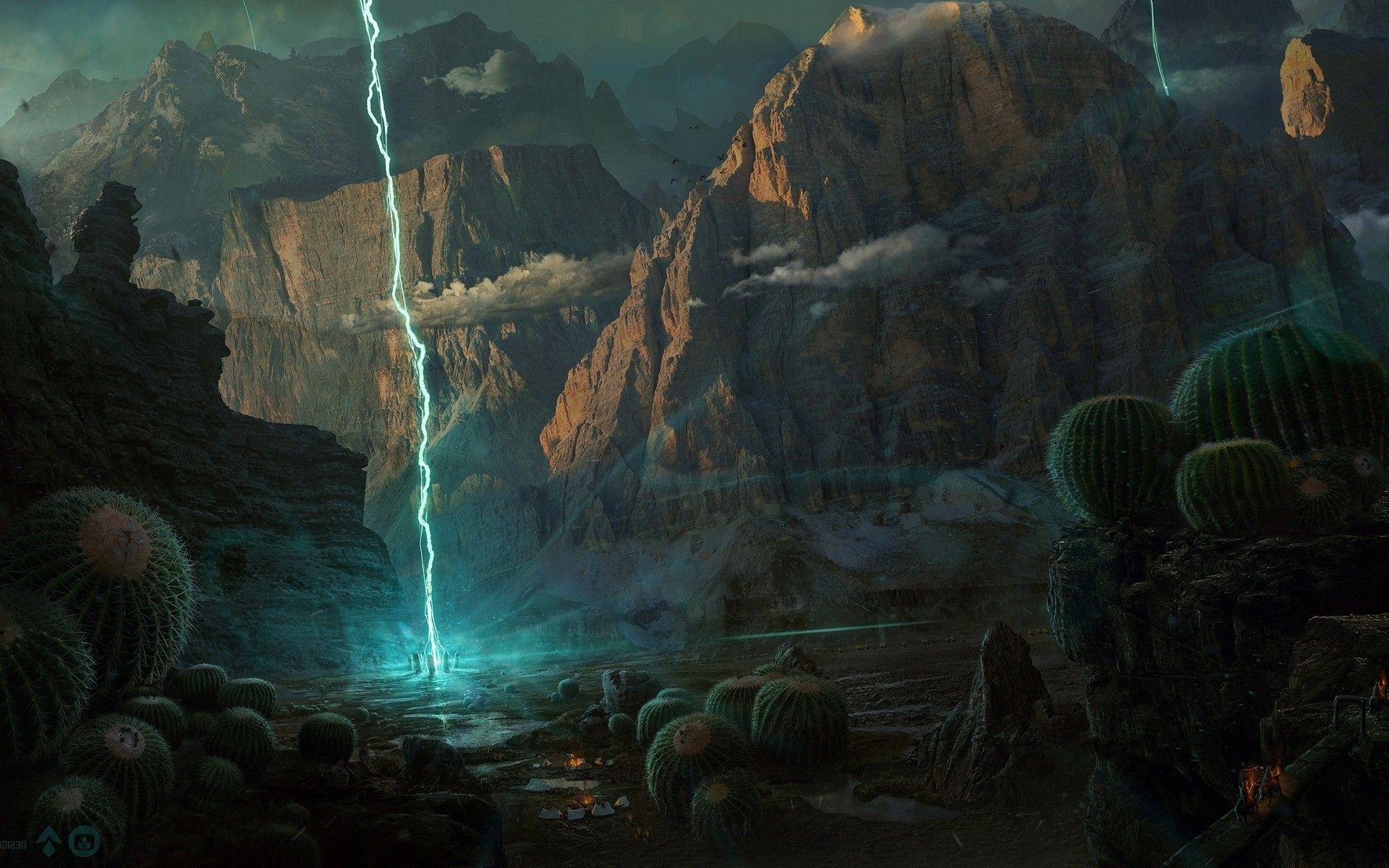 Digital Art Fantasy Landscape Widescreen Wallpaper Free