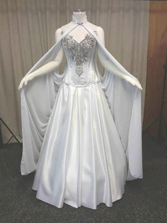 9ede5ade75a2 Beautiful Elven dress for a faerie wedding. Romantic and flowing. This gown  is gorgeous. The full skirt is constructed with top quality white duchess  satin ...