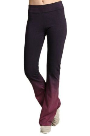 Dark Navy Blue Magenta Pink Ombre Dip Dye Yogo Stretch Leggings Pants