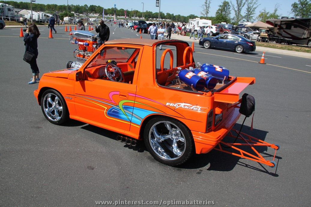 The Wildest Geo Tracker You Ve Ever Seen Blower Nitrous Wheeliebars Dropped Trucks Mini Trucks Small Cars