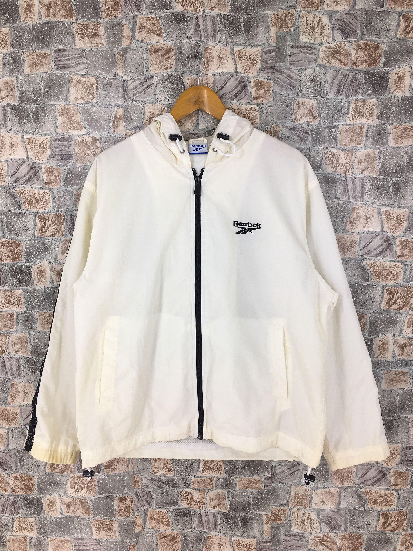 Reebok Windbreaker Jacket Large Vintage 90s Reebok White Etsy Windbreaker Jacket Jackets Jordan Jackets [ 3000 x 2250 Pixel ]