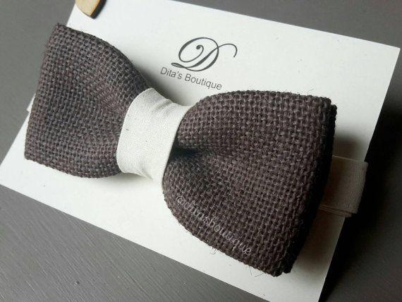 Hessian bow tie. Wedding bow tie. Burlap bowtie. by ditasboutique