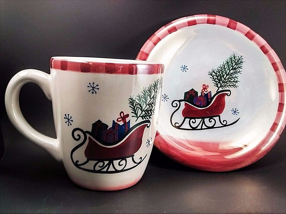 Atico Christmas Cup Saucer Iridescent Sleigh Jumbo Coffee Mug Plate 2 Pc Set