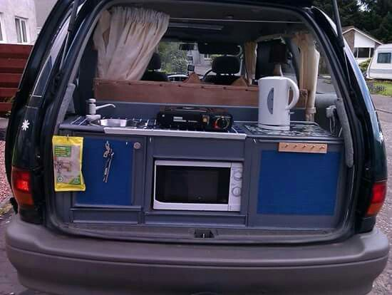 Car Camping Kitchen Box Minivan Camping Van Camping Camper Van