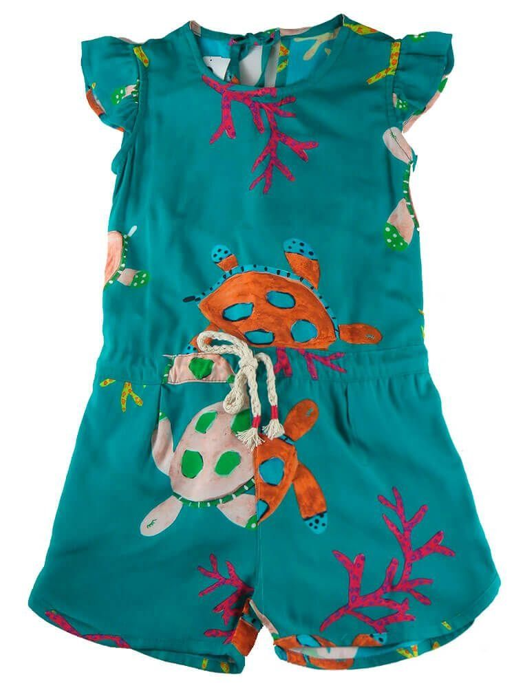 de463875a Macaquinho infantil em viscose verde Tartaruga - Mundo céu