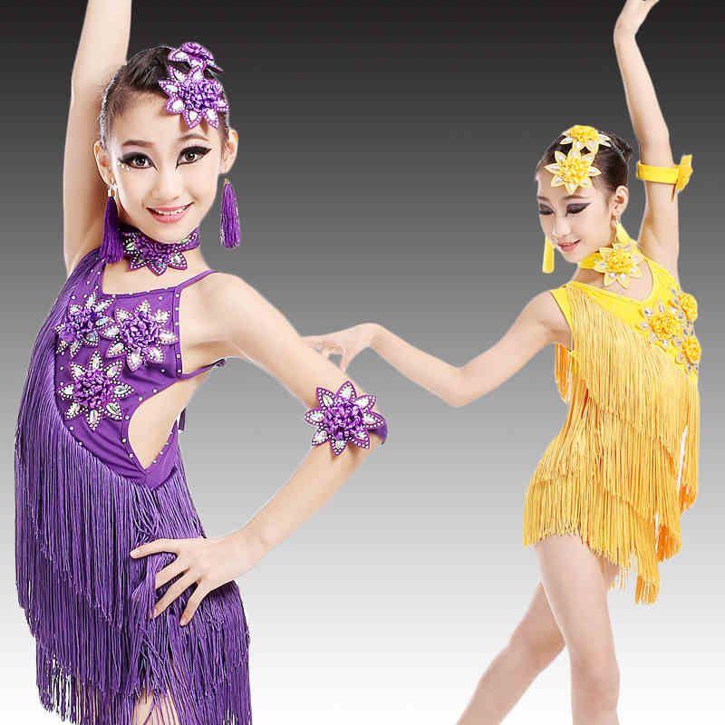 b9f9e3cc12d7 children's Latin dance skirt of summer tassel flowers costumes Girl's  costume girls tassel suit children's performance