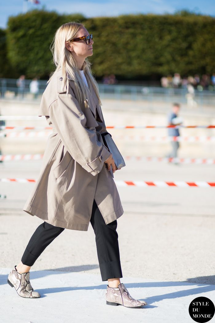 b0f24d8dd12 Before Nina Ricci oversized trench coat python print booties Street Style  Street Fashion Streetsnaps by STYLEDUMONDE Street Style Fashion Blog