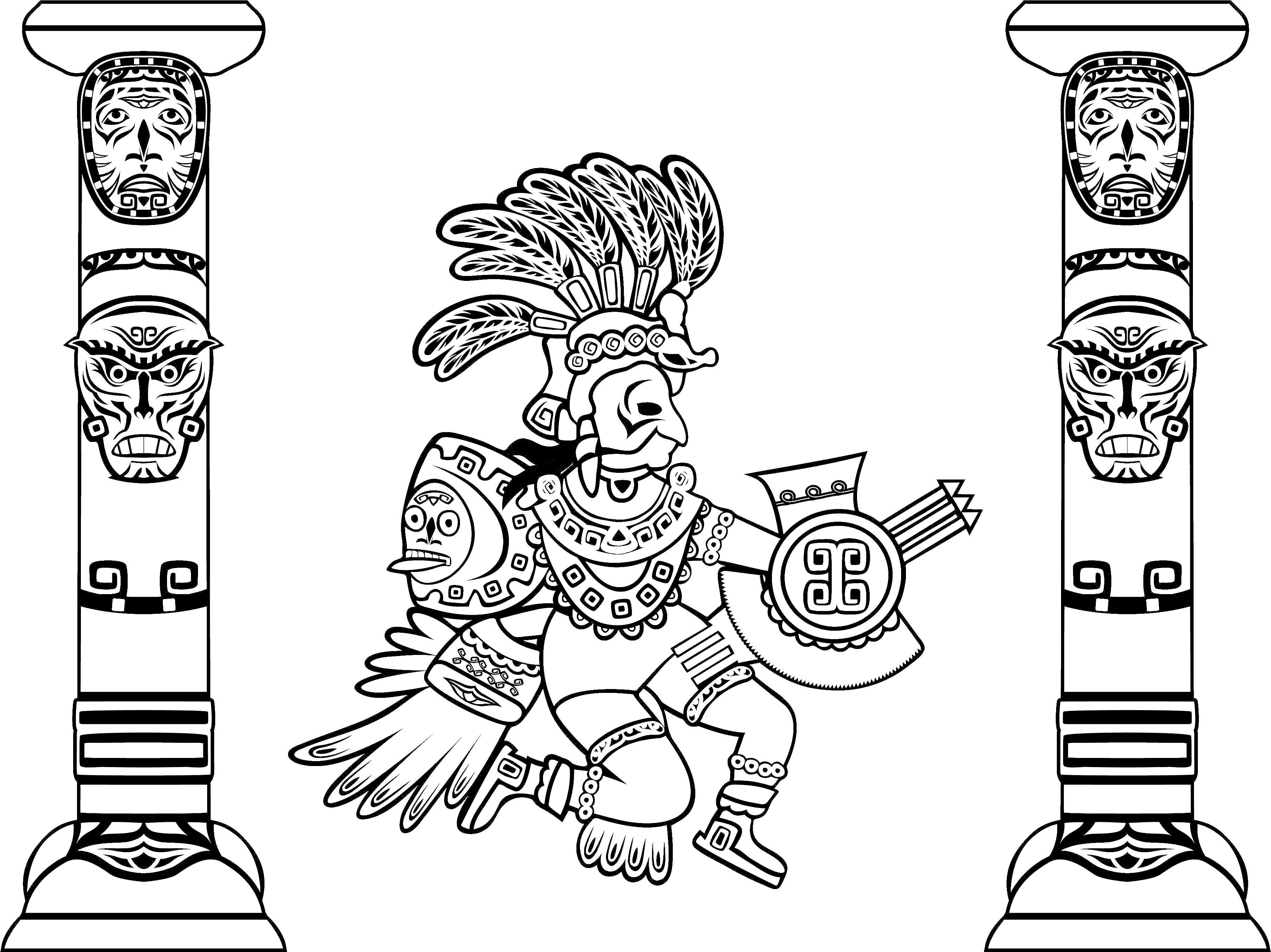 Coloring Adult Quetzalcoatl And Totems Jpg Image Jpeg 3614