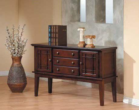 Credenza Dark Brown : Server sideboard dark brown cherry finish furniture ideas