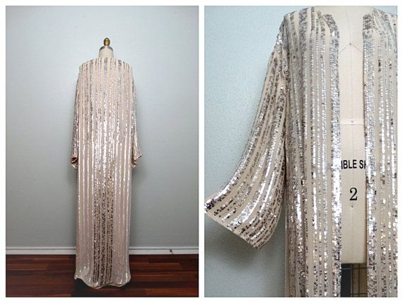 VTG Inspired Long Sequined Cloak / Kimono Sleeve White and ...