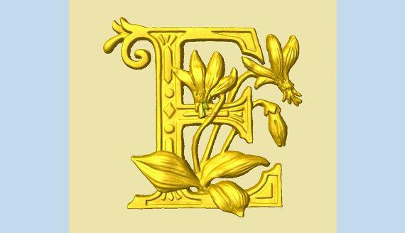 Wooden Letter E + Erythronium Flower - 10\