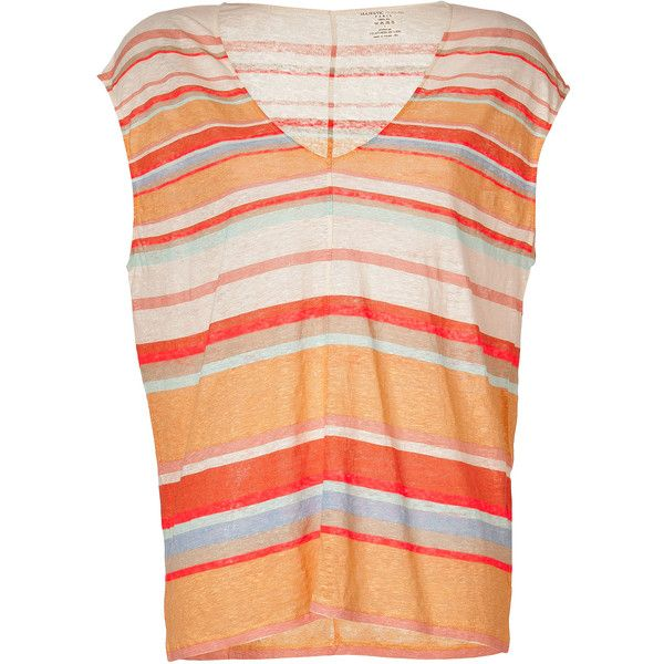 MAJESTIC Neon Orange-Multi Striped Linen T-Shirt ($130) ❤ liked on Polyvore