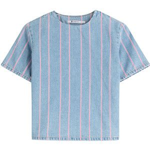 T by Alexander Wang - Cropped Denim Top with Stripes
