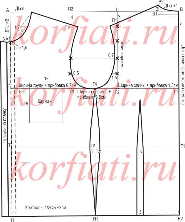 Как сшить мужскую рубашку - выкройка от А. Корфиати | PATRONAJE ...