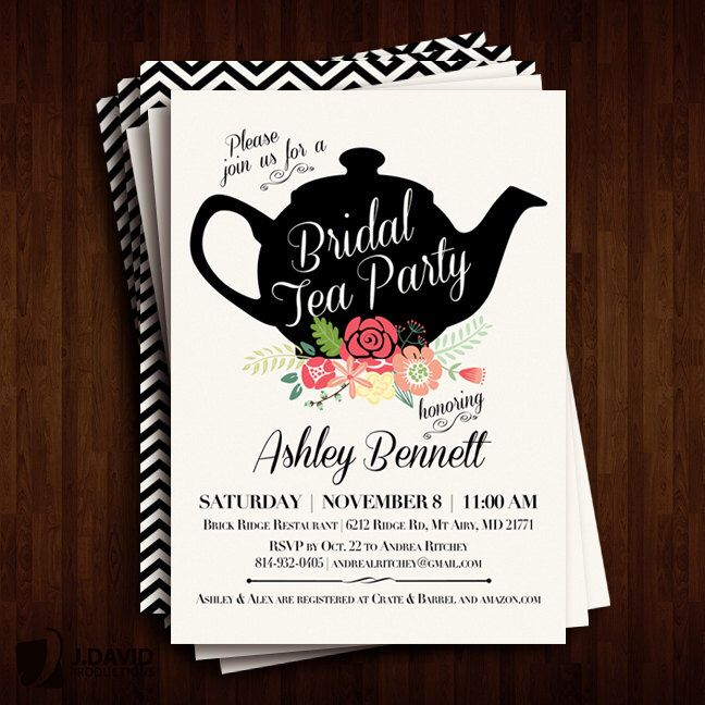 Bridal Shower Tea Party Invitations by JDavidProductions on Etsy https://www.etsy.com/listing/229498712/bridal-shower-tea-party-invitations