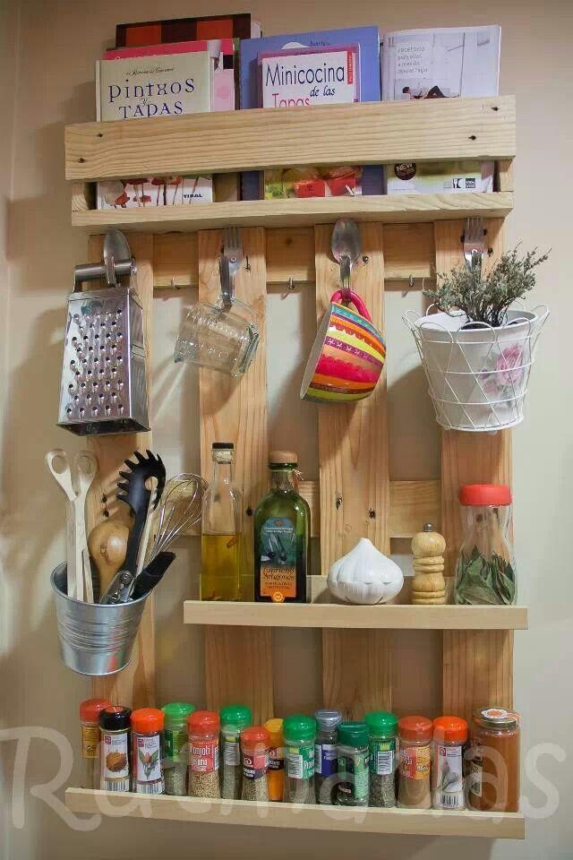 Reciclar palet en estantería para cocina pallet ideas Pinterest - estantes para cocina