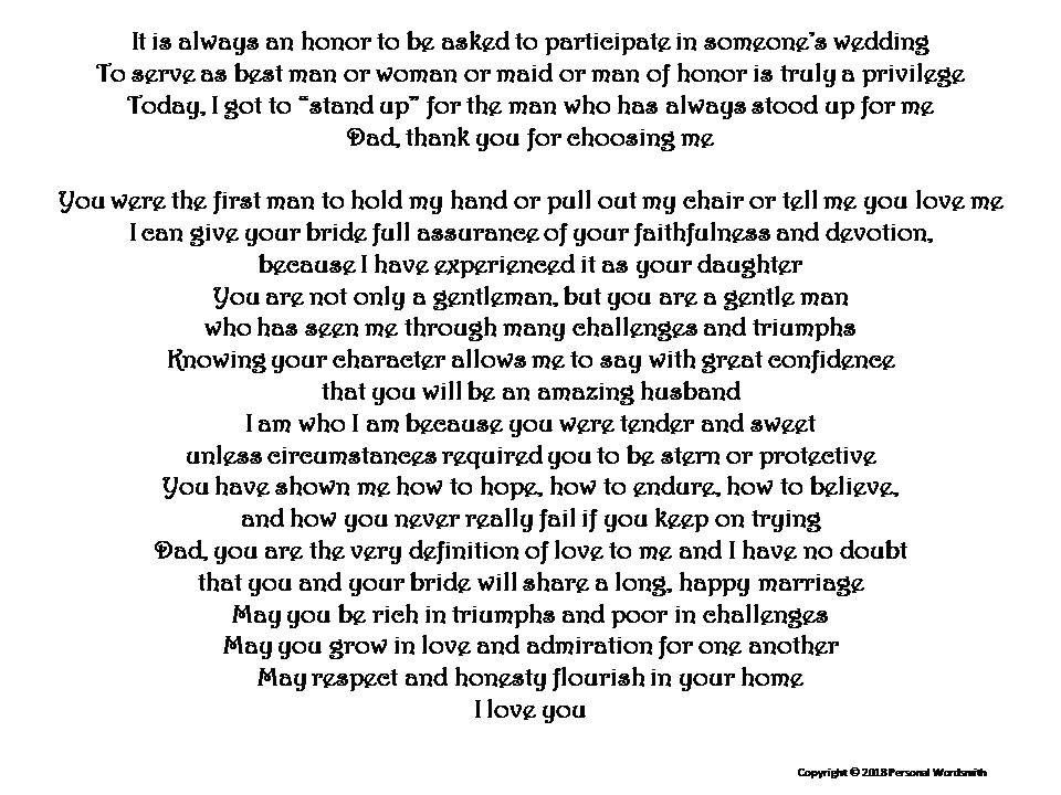 Best Woman Speech Daughter To Dad Toast From Daughter To Dad At Wedding Wedding Blessing Downlo Wedding Speech Best Man Wedding Speeches Maid Of Honor Speech
