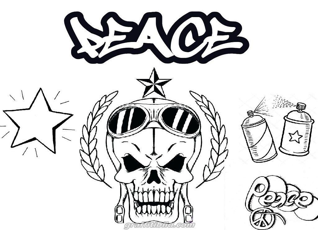 Skull Graffiti Coloring Pages Free   Graffiti ...