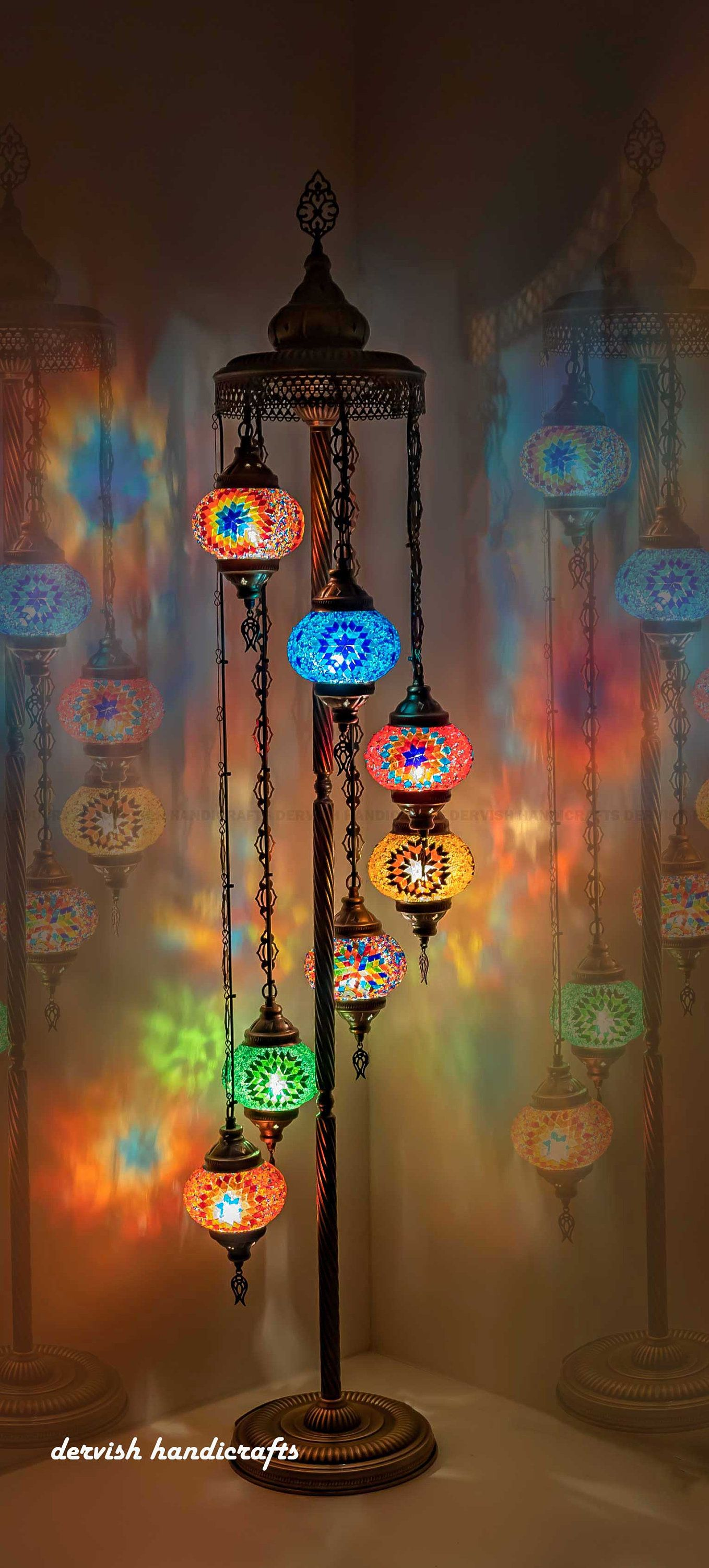 """Floor Lamp 61"""" Height 7 Glasses, Pick / Customize Colors"""