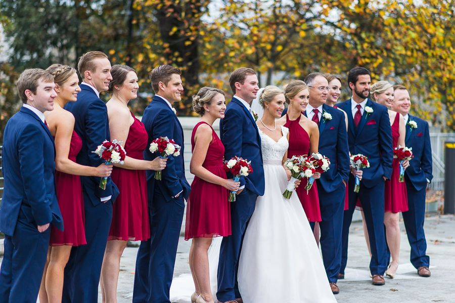 Cranberry and navy wedding party for fall wedding for Navy dress for fall wedding