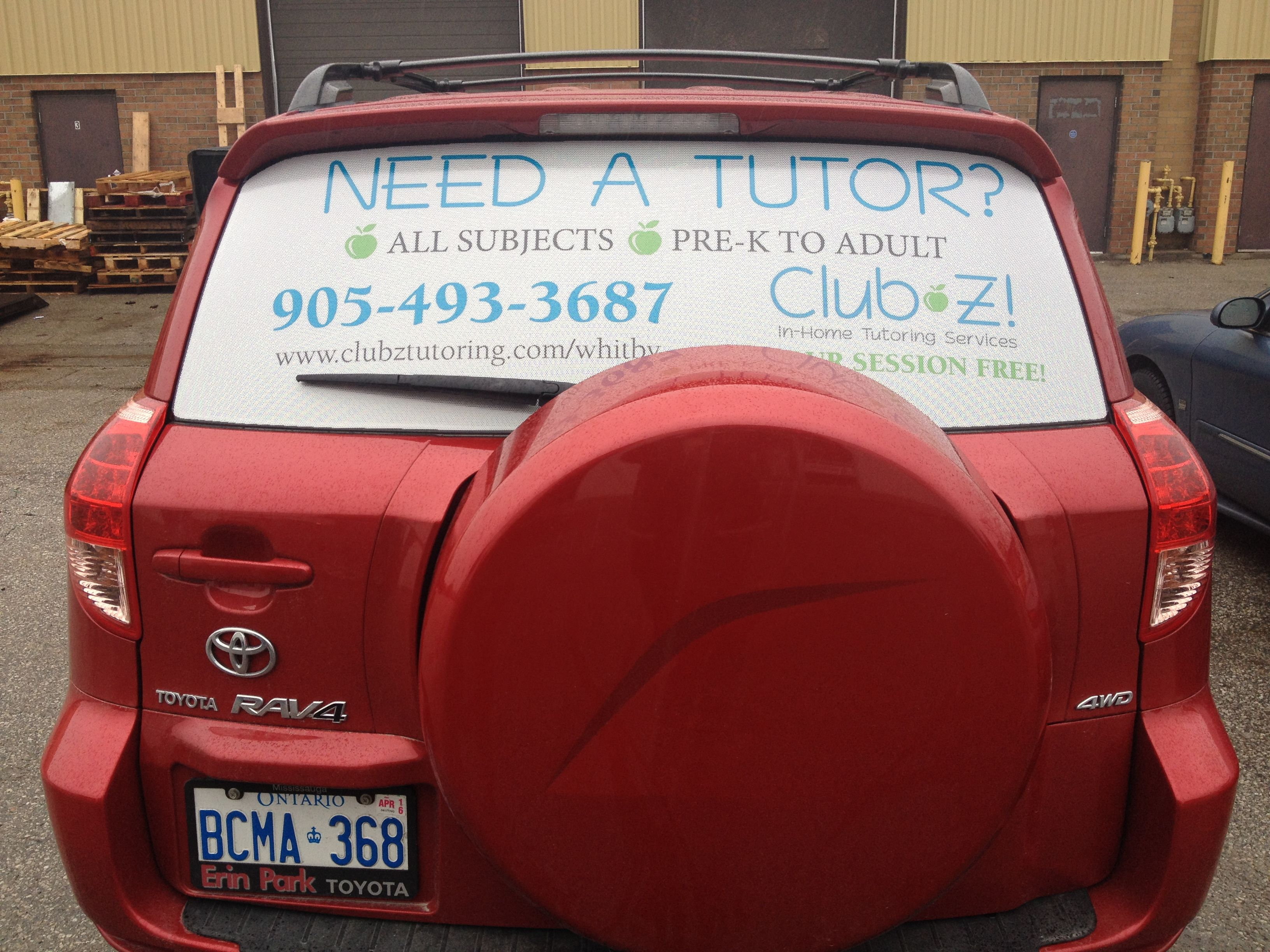 First Job Complete This Morning Fresh Clean Rear Window Perforated Vinyl Graphics Installed For Club Z In Home Tutoring Vinyl Graphics Car Wrap Rear Window [ 2448 x 3264 Pixel ]