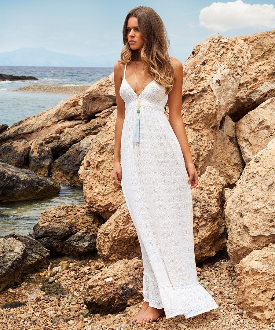 Tara white crochet maxi dress Sale - Melissa Odabash | Summer ...