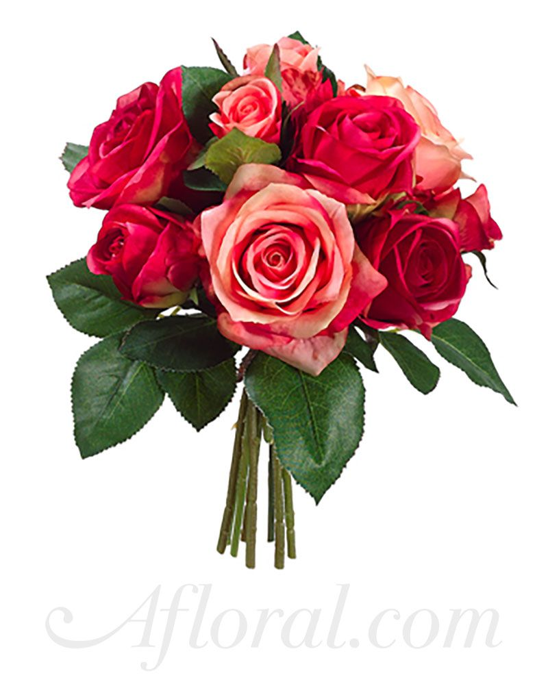 A Gorgeous mix of open silk roses and rose buds in shades of coral ...