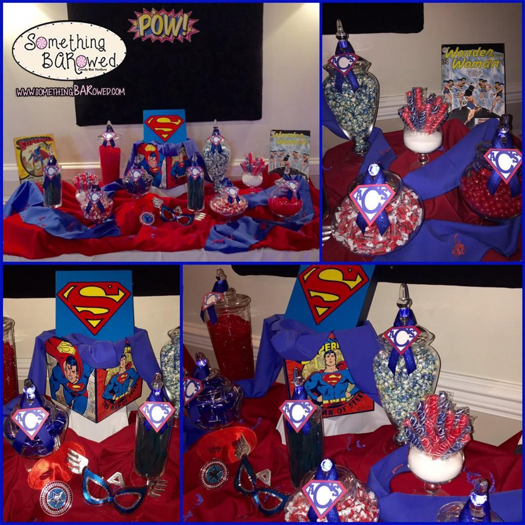 Superman Wedding Candy Bar: It's a bird...it's a plane...is that a candy cane? Take a look at our Super Hero inspired Sweets! #handmade #candy #candybar #candytable #candybuffet #candystation #weddingreception #wedding #instawedding #weddingideas #weddinginspiration #weddingday #engaged #weddingseason #weddingfavors #favors #weddingplanning #weddingdecor #eventplanning #mrandmrs #bride #justmarried #desserttable #superhero #tablescape #weddingcake #superman #marvel #marvelcomics