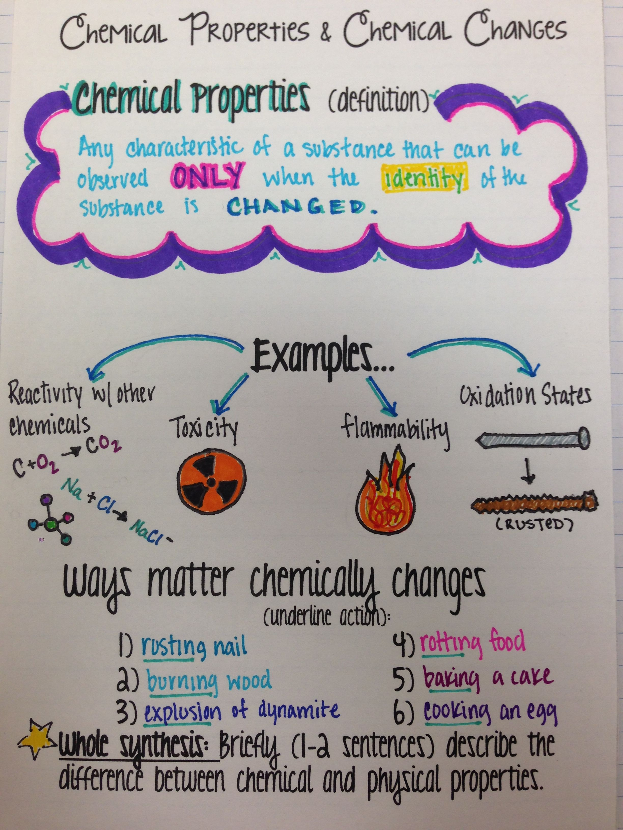 worksheet Chemical Vs Physical Change Worksheet intro to chemical properties changes property unit notes