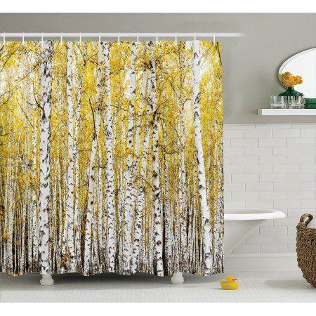 Farm House Decor Shower Curtain Set Autumn Birch Forest Golden