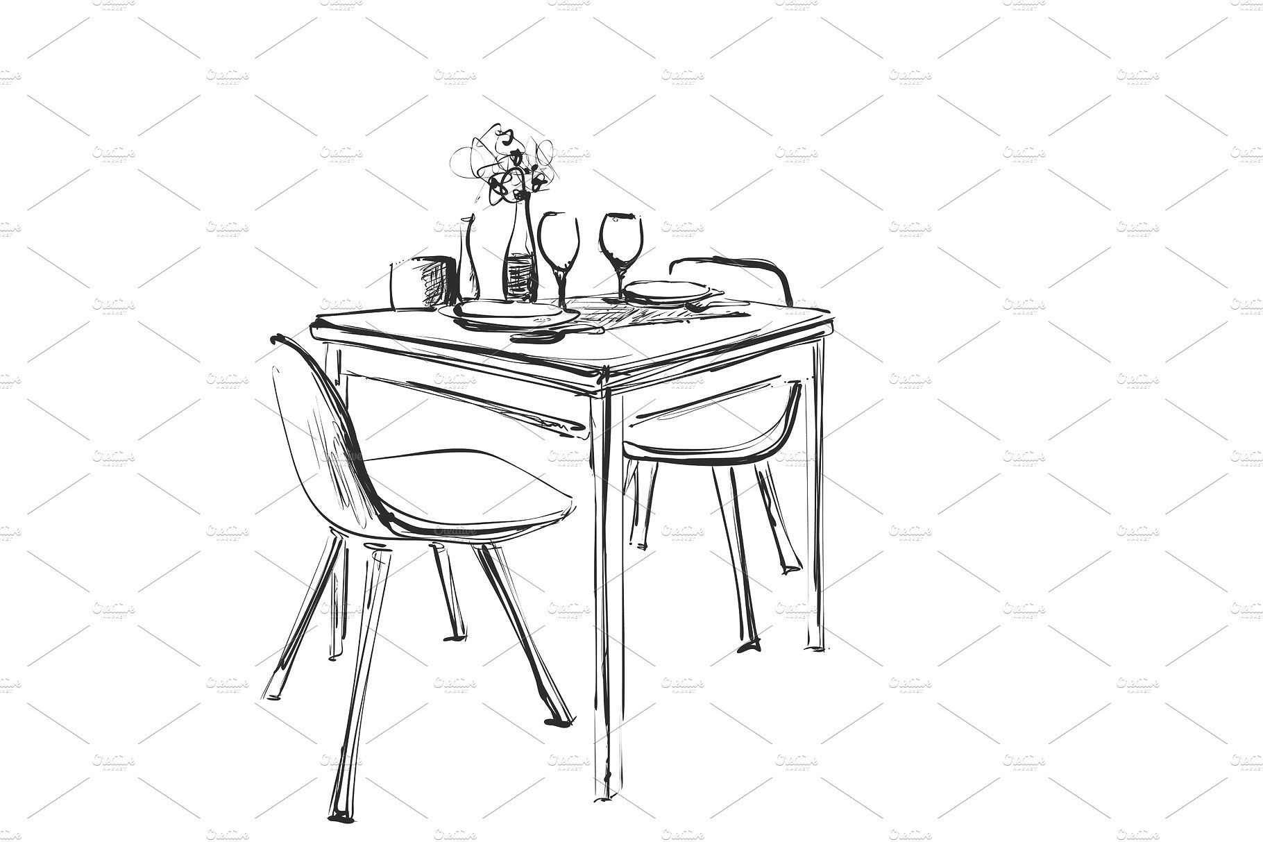 Table Setting Set Weekend Breakfast Or Dinner Hand Drawn Dishes Sketch Table And Chair How To Draw Hands Table Sketch Art Chair