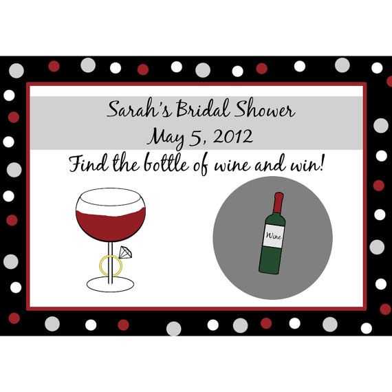 24 Personalized Scratch Off Game Cards - WINE AND RING Cards are personalized with bride-to-bes name and shower date. They are printed on 110 lb