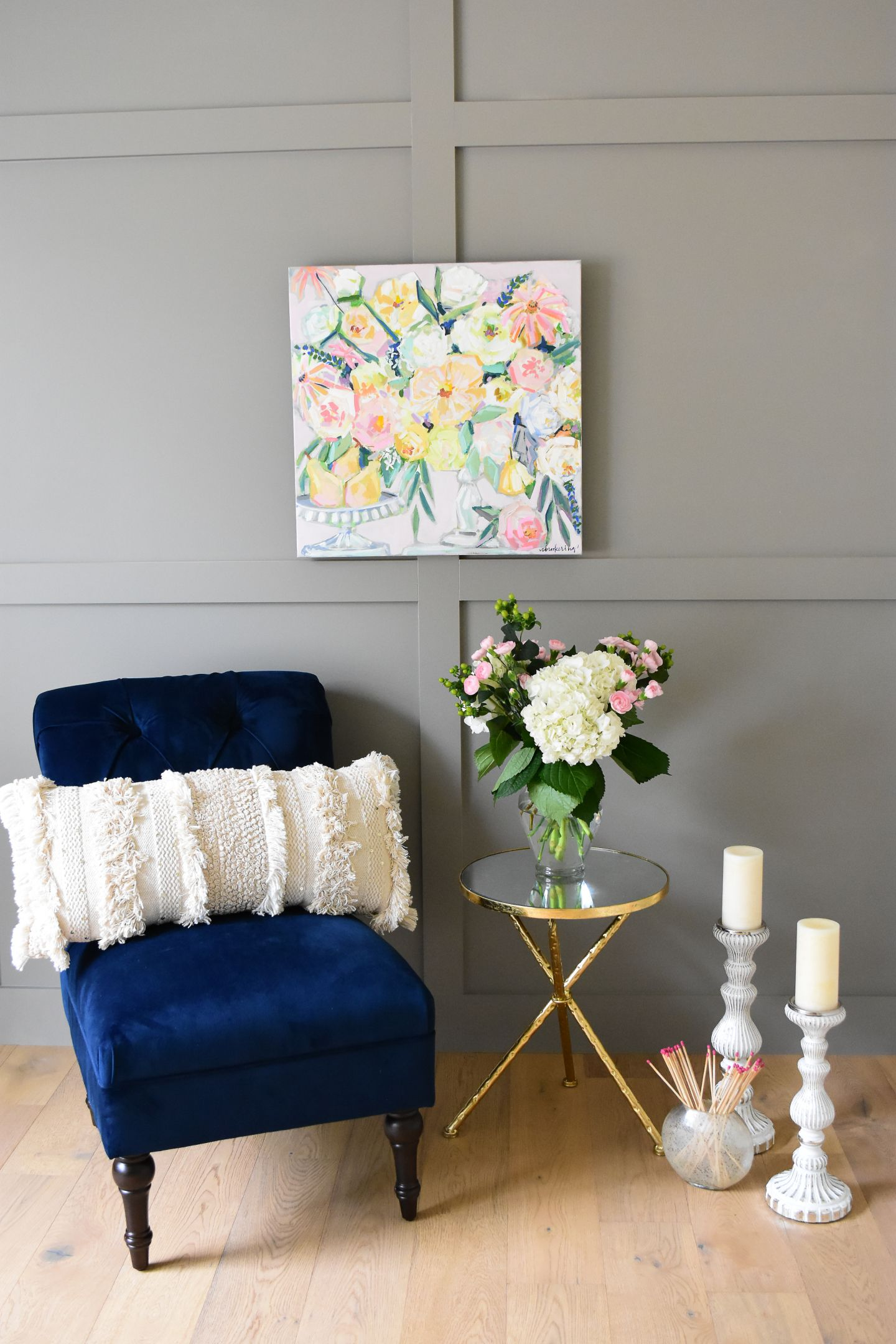 Best At Home With May Flowers Pink Floral Painting Blue 400 x 300
