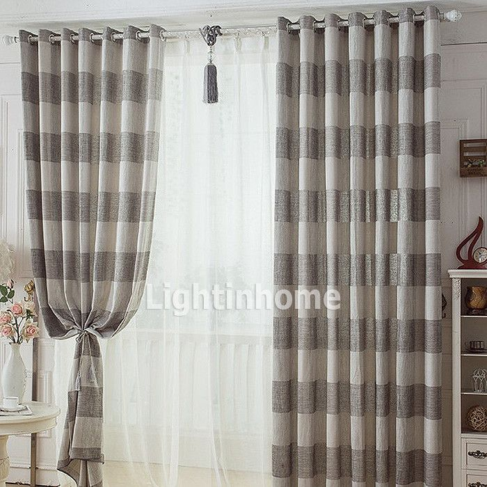casual Affordable Traditional Simple Gray And Brown Striped Curtains master bedroom