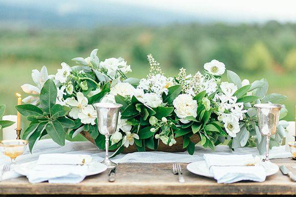 Honey Magnolia Wedding Inspiration White Flower Arrangements