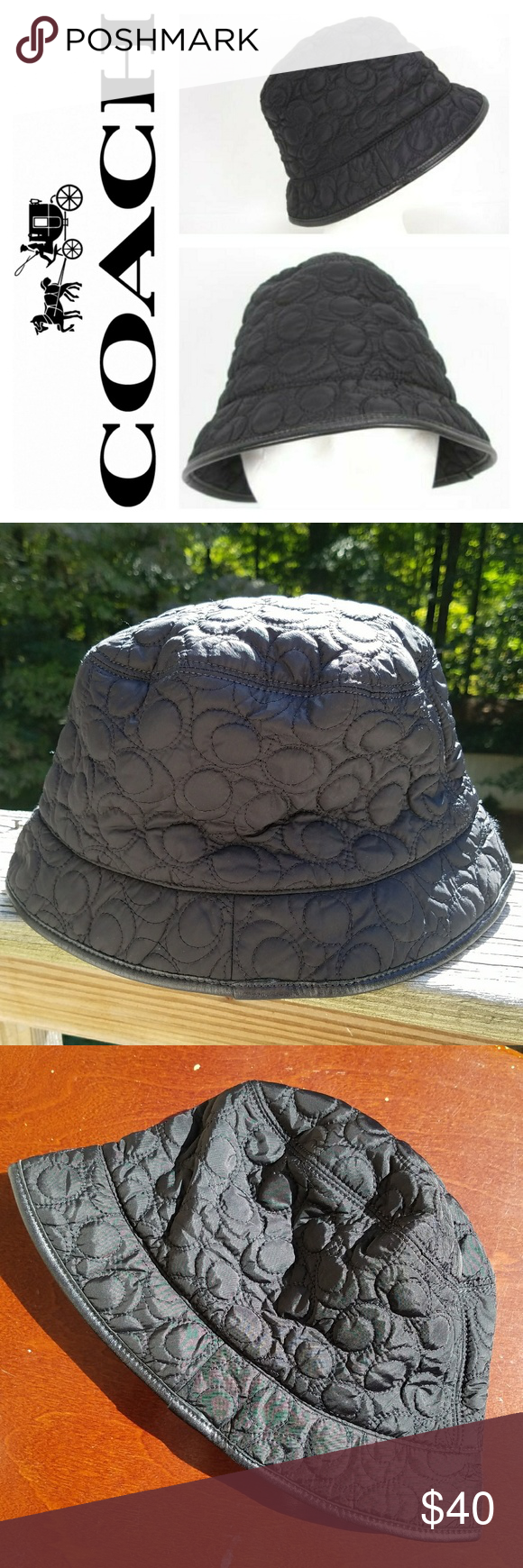 5ef4eec5834cf Coach Quilted Black Signature C Bucket Rain Hat A jaunty little authentic  hat from Coach. Hat is quilted and has leather trim and is lined.
