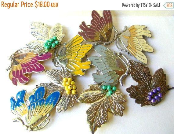 Christmas Sale Vintage Buckle Lot - 80s Butterfly Buckles - Leaf Buckles - Buckle Destash Lot by BohemianGypsyCaravan