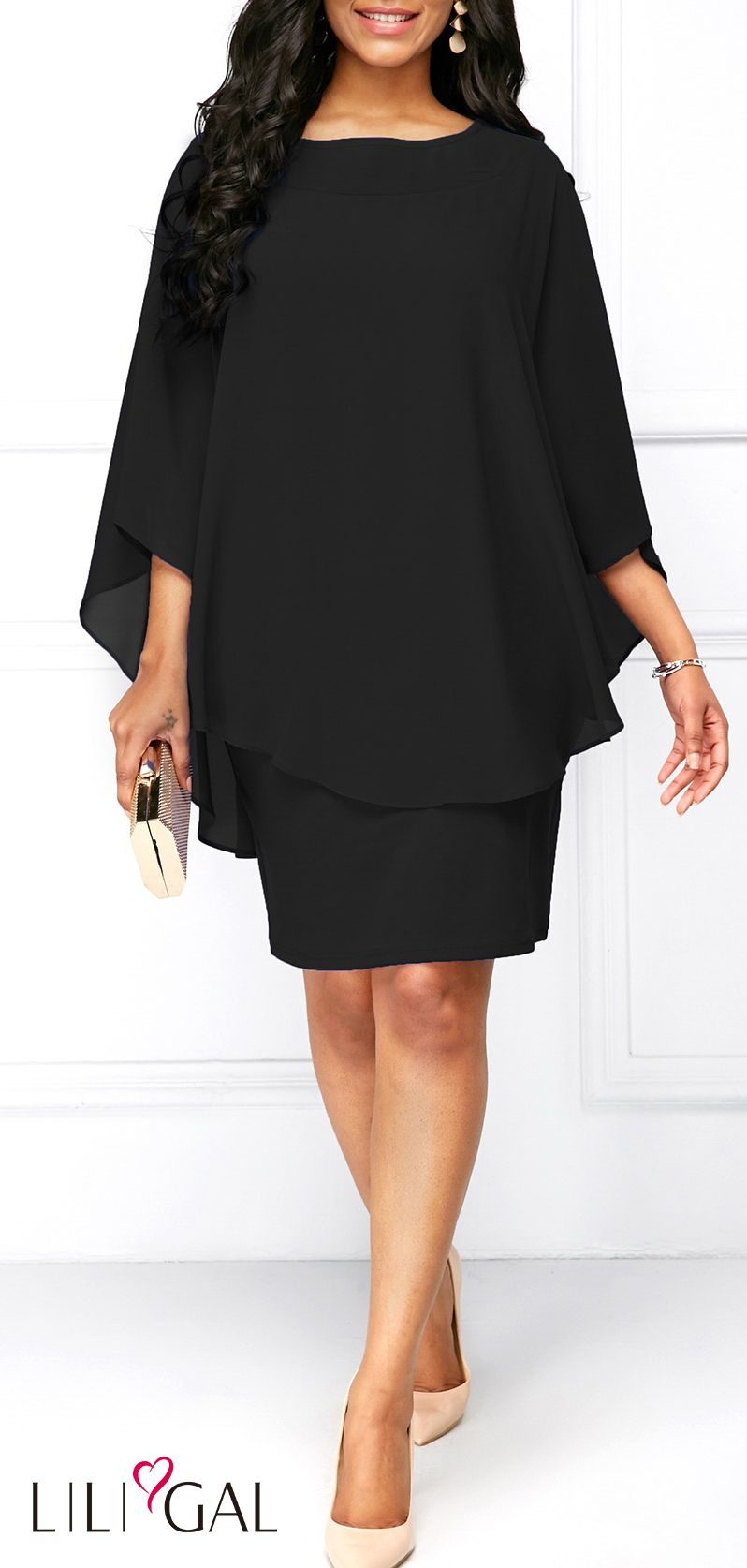 Three Quarter Sleeve Black Chiffon Overlay Dress #liligal #dresses ...